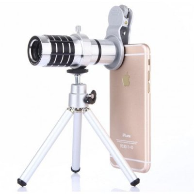 12 X Silver General Mobile Phones Camera External Telephoto Lens Telescope - SILVER