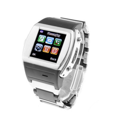 MQ008 Watch Phone Quad Band 1.5 Inch Touch Screen Camera Bluetooth FM with Bluetooth Earphone - Silver