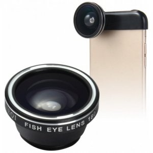 LIEQI LQ - 018 3 In 1 180 Degree Fisheye Photo Lens - BLACK