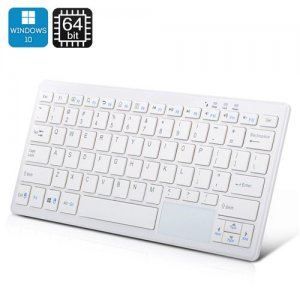 72 Key Keyboard PC - Windows 10, Intel Quad Core CPU, 2GB RAM, Bluetooth, 32GB Memory (White)