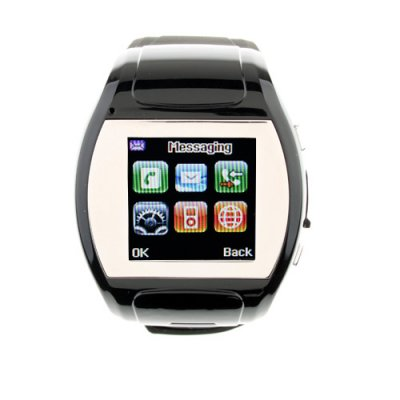 MQ007 Watch Phone Quad Band 1.5 Inch LCD Touch Screen Camera Bluetooth FM Cellphone with Bluetooth Earphone - Black