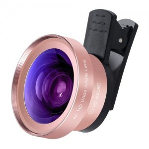 2 in 1 HD Camera Lens Kit - 0.45X HD Super Wide Angle 15X Macro Lens - ROSE GOLD