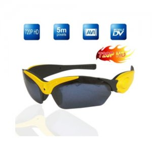 4GB Memory Real HD 720P Yellow Sport Sunglasses DVR With Hidden Camera