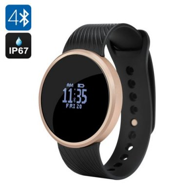 Bluetooth Smart Sports Watch - Pedometer, Remote Shutter, Call Reminder, IP67, Supports Android and iOS (Black)