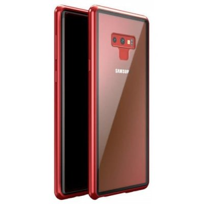 Magnetic Adsorption Tempered Glass Metal Case for Samsung Note 9 - RED