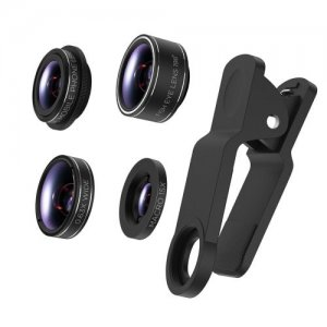 Fish Eye+Wide+Angle+Macro+Polarizer 4 in 1 Phone Lens Kits (Black) - BLACK
