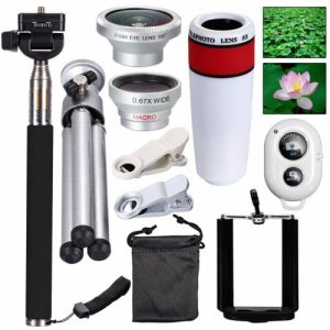 Three in One Fisheye Wide Angle Telephoto Lens Macro Telescope Head Selfie Stick - [8X WHITE] 10 IN 1 SET