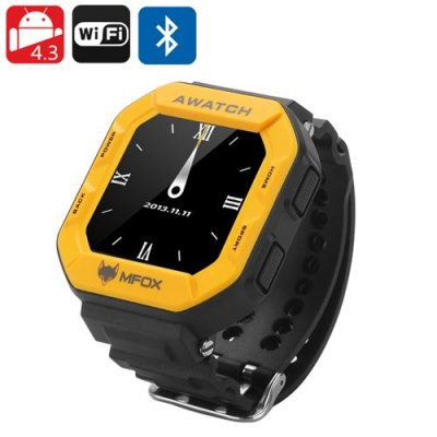 MFOX AWATCH - IP68 Heart Monitor Watch, Android 9.1 OS, Bluetooth 4.0, Fitness Tracking, 1.6 Inch Screen (Yellow)