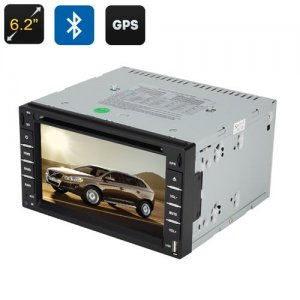 Touch Screen GPS Car DVD Player - 6.2 Inch Screen, 2 DIN, 3D Interface, FM Radio, Bluetooth, Windows CE 6.0, GPS