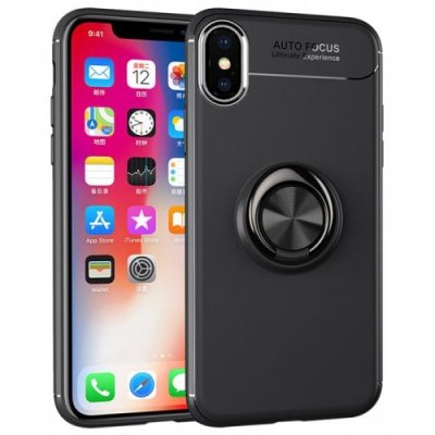 Buckle Ring Stand Phone Back Case for iPhone XS Max - BLACK