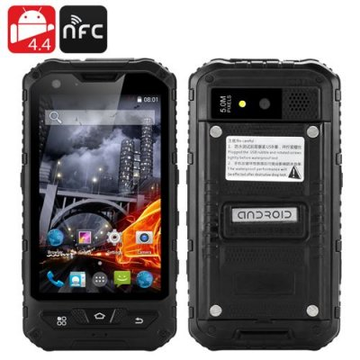 4 Inch Rugged Smartphone Phone - Dual SIM, Android 9.1, Quad Core CPU, IP67, 1GB RAM + 8GB ROM, Two Cameras, NFC (Black)