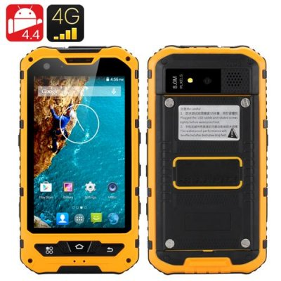 4 Inch Waterproof Smartphone - Octa Core CPU, 2GB RAM, 16GM Memory, Mali GPU, IP67 Dual 4G SIM (Yellow)