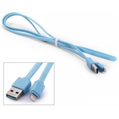 Original REMAX RC-008i 8 Pin USB Charge Sync Cable Flat Design - 100cm - BLUE