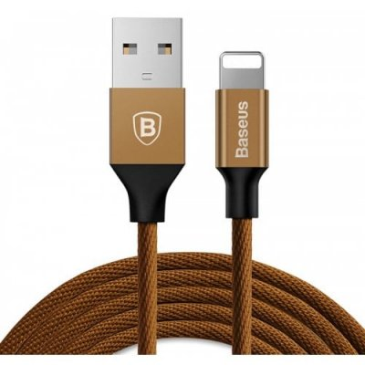 Baseus 1.5A 8 Pin Fast Charging and Data Transfer Cable 3m - COFFEE