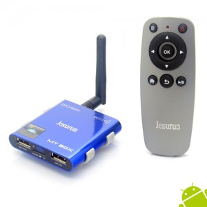 Jesurun MT-05 Android TV Box A31S Quad Core 2GB 8GB Android 9.1 Remote Control TF Card- Blue