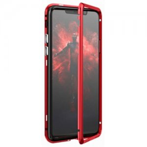 Built-in Magnetic Case for iPhone XR HD Tempered Glass Magnet Adsorption - RED