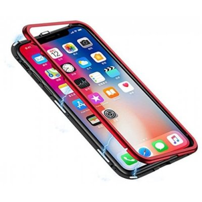Magnetic Adsorption Case Tempered Glass Metal for iPhone X - RED