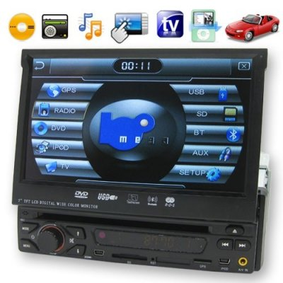 7 Inch 1 DIN LCD Touchscreen Car DVD Support TV + Wireless Transmission