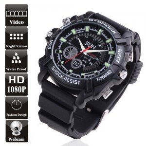 8GB Waterproof 1080P IR Spy Watch DVR with Rubber Bracelet Support Night Vision