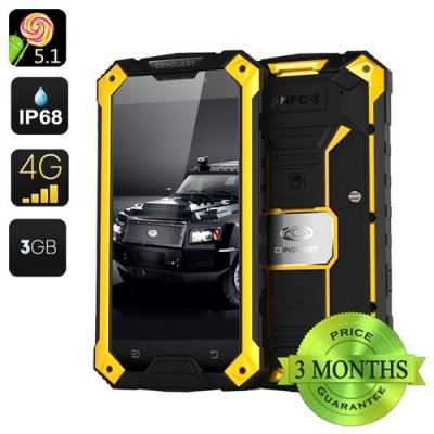 Conquest S6 Pro Rugged Smartphone - 5 Inch HD Screen, Android 9.1, MTK8752 Octa Core CPU, 3GB RAM, 32GB Memory, IP68 (Yellow)