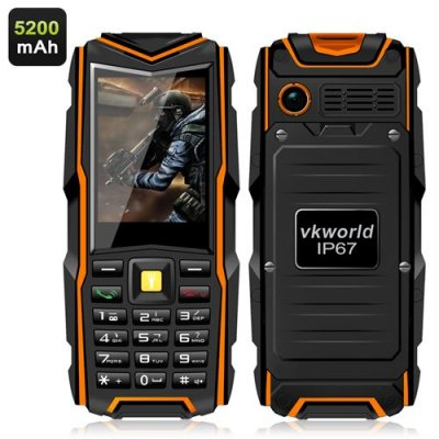 VKworld Stone V3 GSM Phone - IP67 Waterproof Rating, 5200mAh Battery Power Bank, 2.4 Inch Screen Bluetooth (Orange)