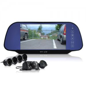 Complete Car Reversing Set - Rearview Camera, 4 Parking Sensors, Rearview Mirror