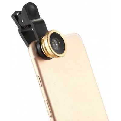 Minismile 3-in-1 Fish Eye and Wide Angle and Macro Phone Camera Lens for iPhone - Samsung - Xiaomi - HUAWEI - GOLD