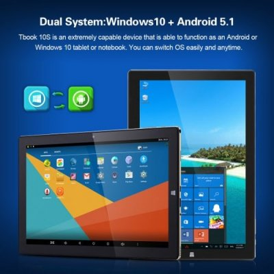 Teclast Tbook 10S 10.1Inch Windows 10+Android 5.1 Intel Cherry Trail X5-Z8350 4+64GB 2 in 1 Ultrabook Tablet PC - GOIDEN