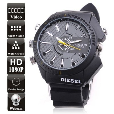 8GB Waterproof 1080P Full HD Watch DVR with Pinhole Camera Support Night Vision
