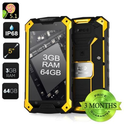 Conquest S6 Pro Rugged Smartphone – 3GB RAM, 64GB Memory, 5 Inch Screen, Gorilla Glass, Android 9.1, IP68 (Yellow)