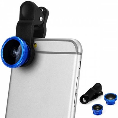 LP 3001 3 in 1 Universal Clamp Camera Lens Including Fisheye Macro and Wide Angle - BLUE