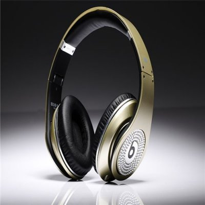 Beats By Dre Studio High Definition Powered Isolation Headphones Champagne Silver With White Diamond