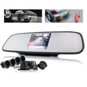 3.5 Inch TFT Screen Car Rearview Mirror with Rearview Camera + Parking Sensor
