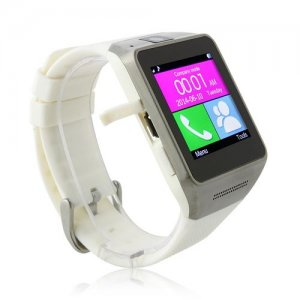 GV08 Watch Phone 1.54 Inch Screen Quad Band Bluetooth BT Dailer Camera - White