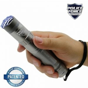 Police Force Gun Metal 9.2M Volt Stun Gun + Flashlight
