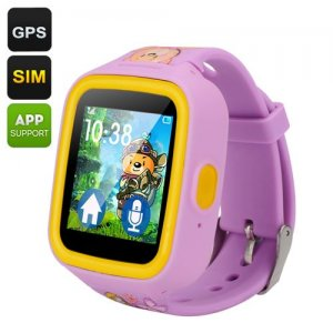 GPS Tracker Kids Watch Phone - Quad Band GSM, Two-Way Communication, Geo Fencing, 1.44 Inch TFT Touch Screen, Pedometer (Purple)