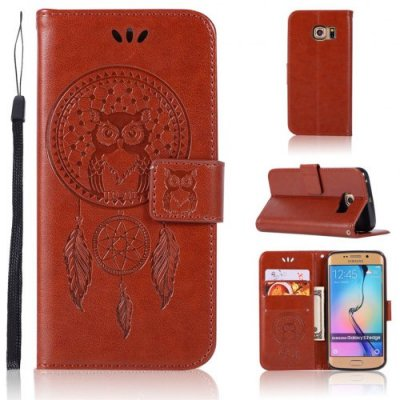 Owl Campanula Fashion Wallet Cover For Samsung Galaxy S7 Edge Phone Bag With Stand PU Extravagant Flip Leather Case - BROWN