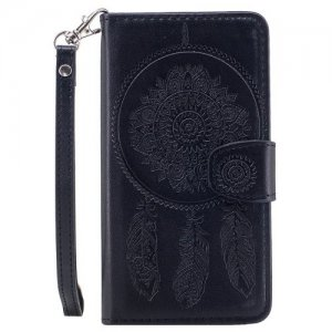 3D Embossed Wind Bell PU Leather Flip Folio Cover for Samsung Galaxy S5 - BLACK