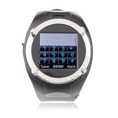 MQ998 Watch Phone Quad Band Camera Bluetooth FM 1.5 Inch Touch Screen Cellphone - Black