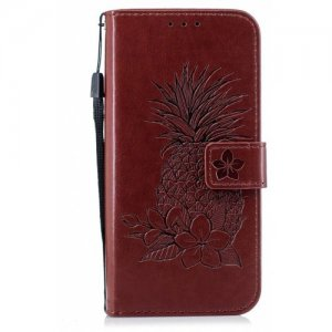 Embossing Pineapple Flower Flip Folio Wallet Case for Samsung Galaxy S7 Edge - BROWN