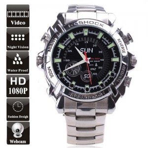 8GB Waterproof 1080P IR Stainless steel Spy Watch DVR Support Night Vision