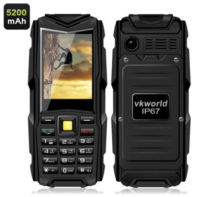 VKworld Stone V3 GSM Phone - 2.4 Inch Display, 5200mAh Battery, Power Bank, Bluetooth, IP67 Waterproof Rating (Black)