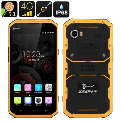 KEN XIN DA PROOFINGS W9 Rugged Smartphone - 6 Inch FHD Screen, IP68, Dual SIM, 4G, Gesture Sensing (Yellow)