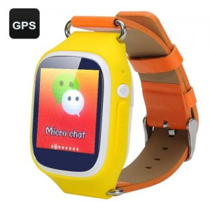 GPS Tracker Kids Phone Watch - GPS + LBS + Wi-Fi Positioning Modes, GSM, Walking Route Map, Pedometer (Yellow)