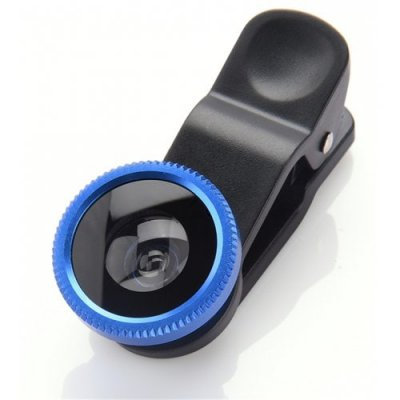 3 in1 Mobile Phone Camera Lens Kit Fish Eye Lens Super Wide Angle Lens with Black Universal Phone Clip - BLUE