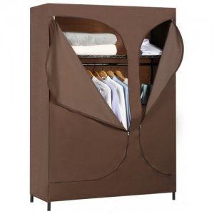 LANGRIA 2-Door Compact Portable Zip Closet, Dark Brown - BROWN