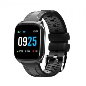 Tf9 Smart Bracelet Full Touch Screen Blood Pressure Oxygen Heart Rate Step - BLACK