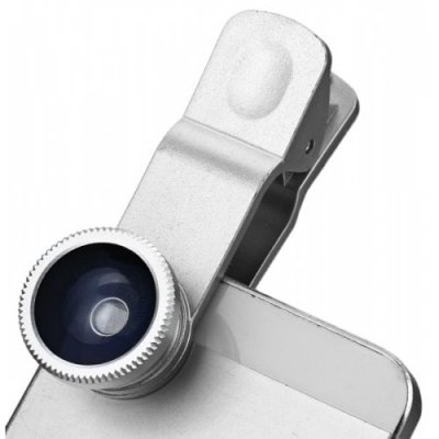 Fashionable 3 in 1 Clip Camera Lens Fisheye Macro Wide Angle - SILVER