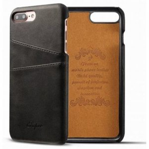 For iPhone 8 Plus-7 Plus Creative Leather Card Holder Back Phone Case Cover - BLACK
