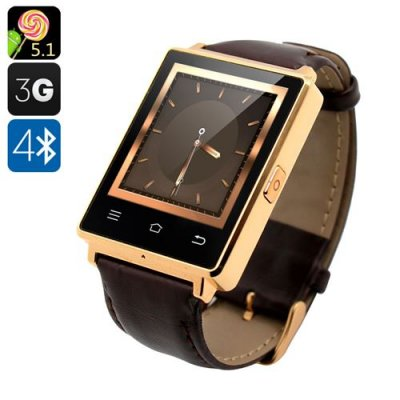 NO.1 D6 3G Smart Watch – Android 9.1, Bluetooth 4.0, GPS, Wi-Fi, Heart Rate Monitor, Pedometer, Barometer (Gold)